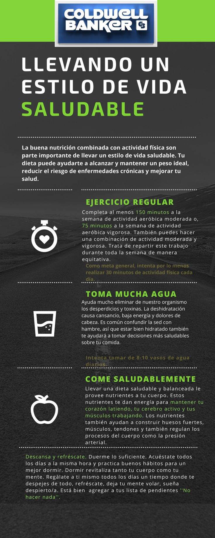 Sigue estos consejos que Coldwell Banker te da, podrás llevar una vida más sana y saludable. #lainmobiliariaazul #cbcolombia #cuidatucuerpo
