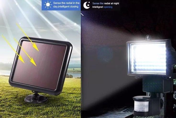 Refletor Luminária Solar De 60 Leds Para Uso Interno e Externa Com Sensor De Movimento - Adrishop - Sua Loja de Variedades
