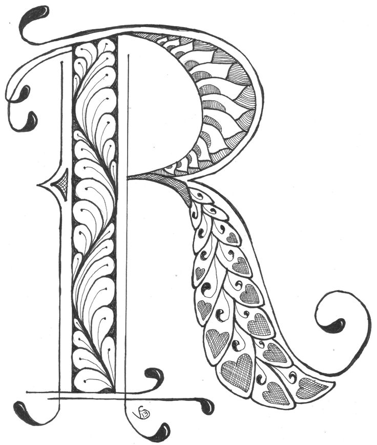 zentangle coloring pages letter n | R by V Stenberg 2013 | Doodle lettering, Lettering, Doodle ...
