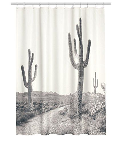 Water Repellent Fabric Shower Curtain Desert Print Cactus