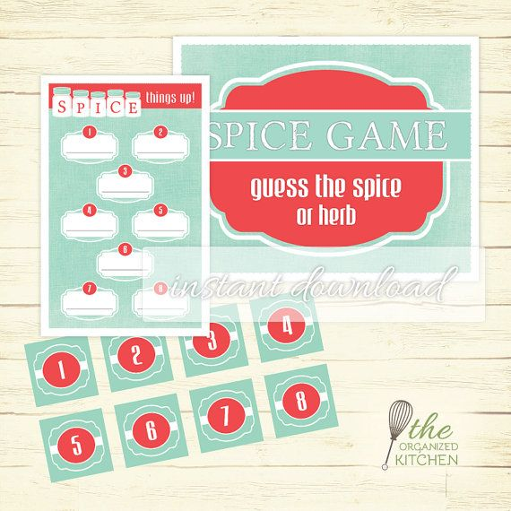 Spice Game / Printable Bridal Shower Game  by TheOrganizedKitchen