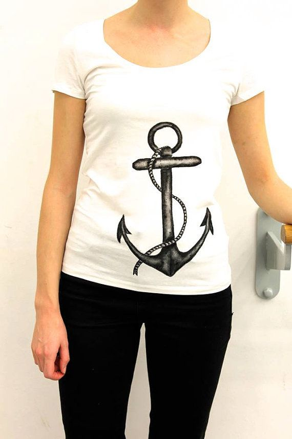 hand painted anchor tee available on ETSY