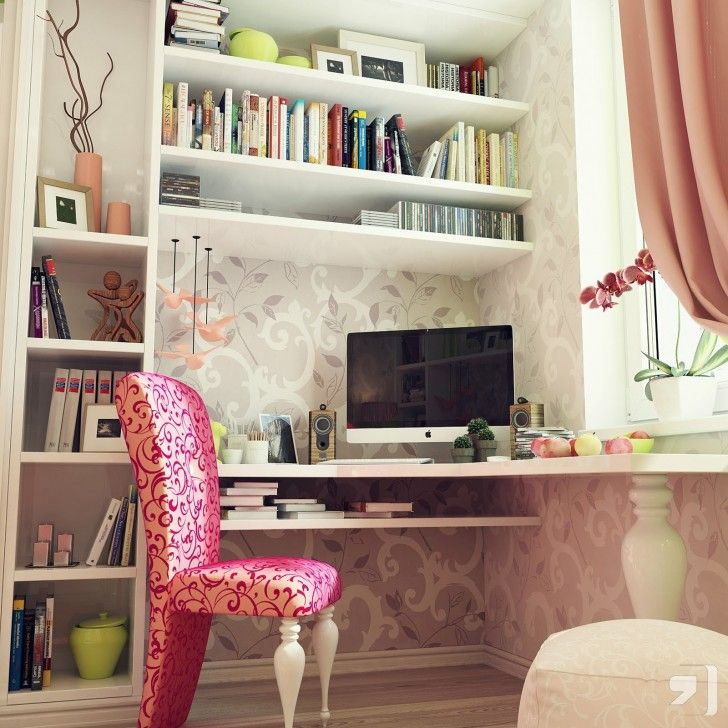 Bedroom, White Bookshelves Tv Flower Vase Elegant Chair Table Books Photos Wooden Floor Pencils Fruits Green Porcelain Pottery Feminine Teenage Bedroom Scheme Pink And Gray Decor ~ Beautiful Teenage Room As Well As Possible