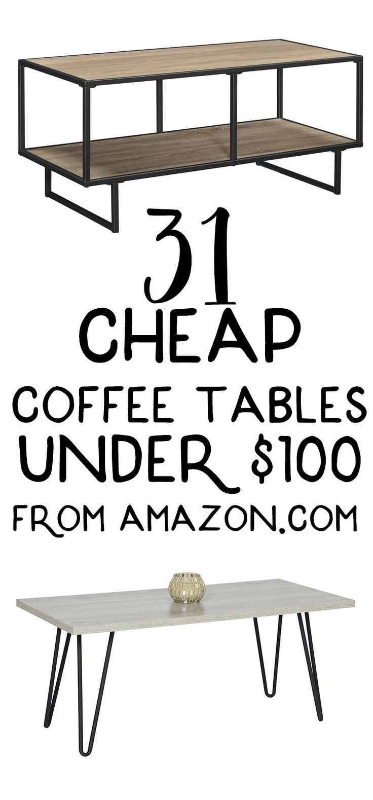 These cute, cheap coffee tables are all from Amazon and these coffee tables are all under $100 each! There are so many cheap coffee table ideas in this round up, like modern coffee tables and coffee tables with storage — perfect for my living room!