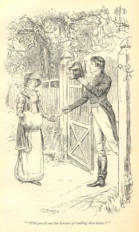 """""""Mr. Darcy's Feelings; Or, More on the Inner Life of Jane Austen's Hero…Part II."""" C. E. Brock illustration. """"Almost as soon as I entered the house I singled you out as the companion of my future life."""" P&P. Macmillan, 1895. Volume I, Ch. 19 [Mollands]"""