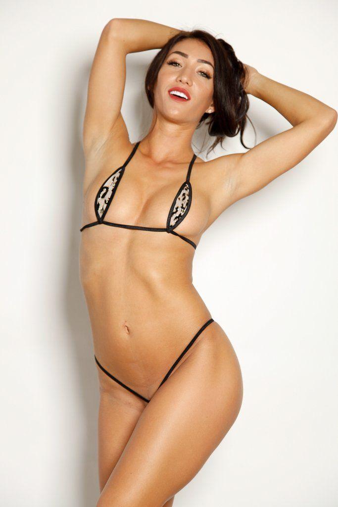 b3cfba301e39 Sexy Model Kristina Lynn-Bitsys Bikinis Nude Gold Glitter Black Leopard  Animal Print Teardrop Bikini