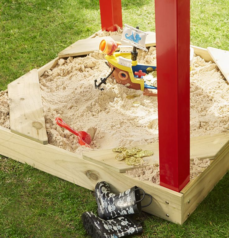This fun-filled playground has everything a kid could want, including a built-in sandpit. #Easter
