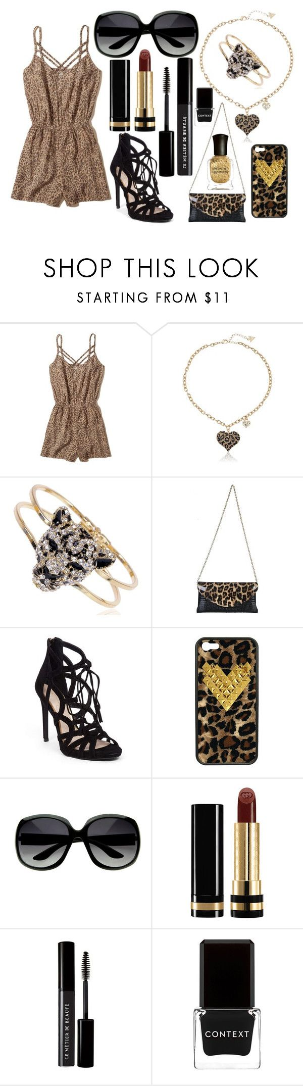 """Cheetah Outfit"" by army-woman on Polyvore featuring Hollister Co., GUESS, Jessica Simpson, Wildflower, Gucci, Le Métier de Beauté, Context and Deborah Lippmann"