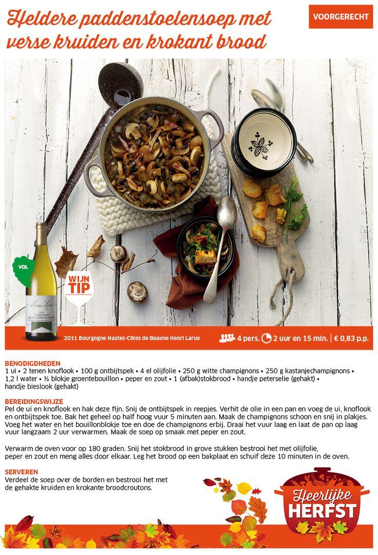 Heldere paddenstoelensoep met verse kruiden en krokant brood - Lidl Nederland