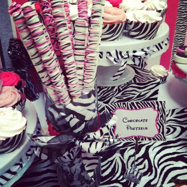 Striped chocolate pretzels at a Minnie Mouse baby shower!  See more party ideas at CatchMyParty.com!  #partyideas #minniemouse
