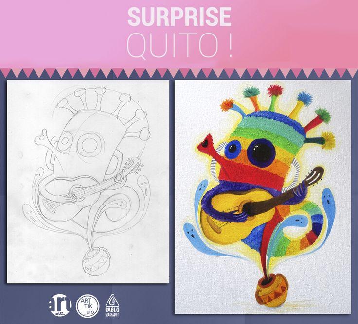 """Aya Huma Ilustración con la técnica de óleo para la exhibición """"SURPRISE"""" en la ciudad de Quito"""