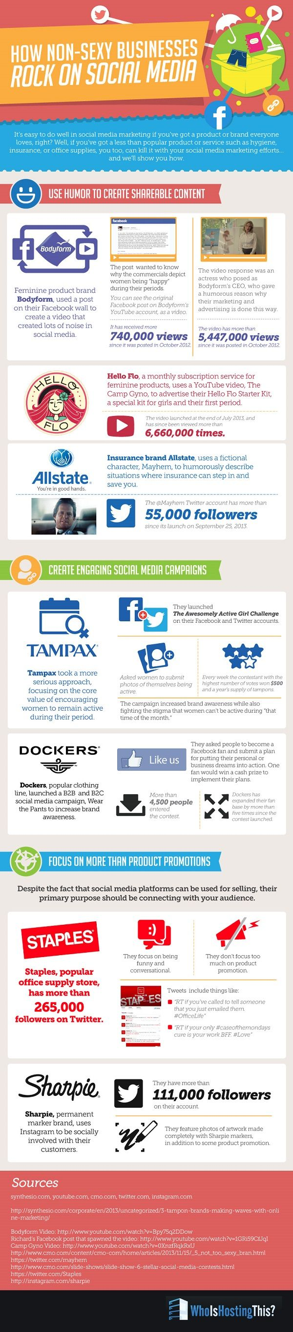"""SOCIAL MEDIA -         """"How to Sell Unsexy Products on Social Media #infographic""""."""
