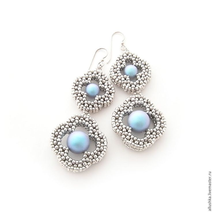 """Buy Earrings from beads and pearls Swarovski """"Nina"""" L - silver, decoration, earrings"""