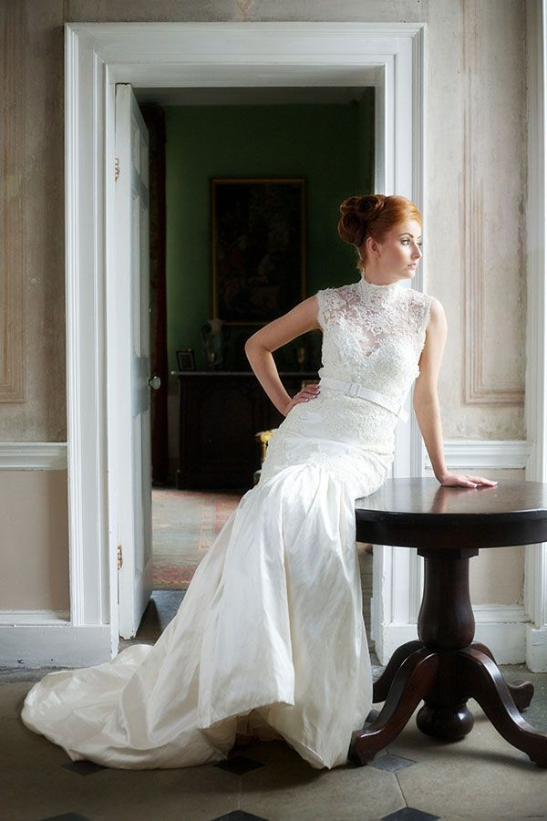 Eleanor - Ivory guipure corded lace turtle neck bodice with silk zibeline covered belt and exaggerated gathered skirt. http://www.jendoherty.com/Catalog/Dresses/eleanor