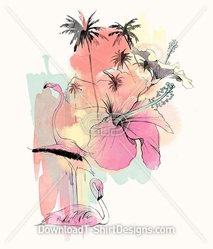 Flamingo & Hibiscus Pastel Paradise. Download this design and print on your T-Shirts or products today at:http://downloadt-shirtdesigns.com/downloadt-shirtdesigns-com-2122873.html