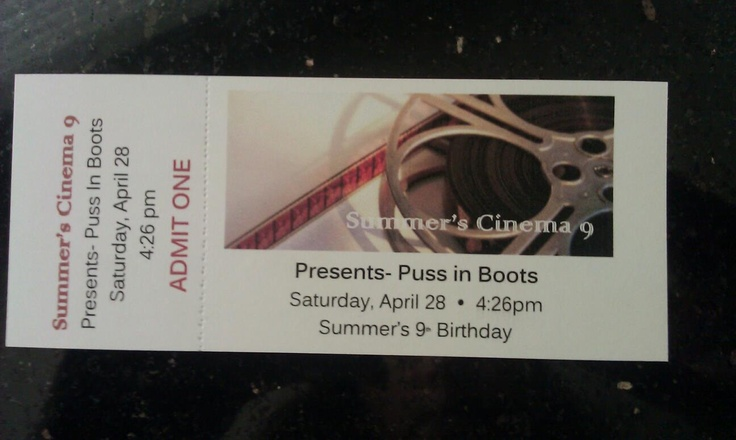 Movie Theater themed birthday party- I got this Movie ticket template off Microsoft Office and made tickets for the kids to use  and then perforated them.