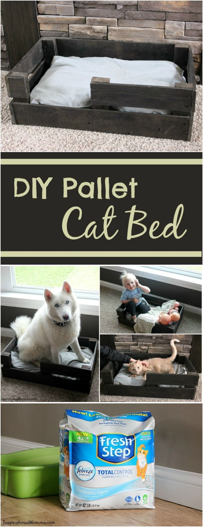 Spoil your fur-baby and create this DIY Pallet Cat Bed today! It is both simple and inexpensive. #YouGottaBeKittenMe #CollectiveBias #Ad #FreshStepLitter #SamsClub