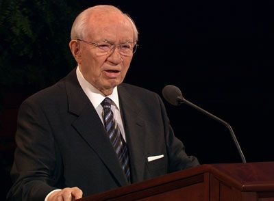 "President Gordon B. Hinckley: ""Generally speaking, the most miserable people I know are those who are obsessed with themselves; the happiest people I know are those who lose themselves in the service of others...By and large, I have come to see that if we complain about life, it is because we are only thinking of ourselves."""
