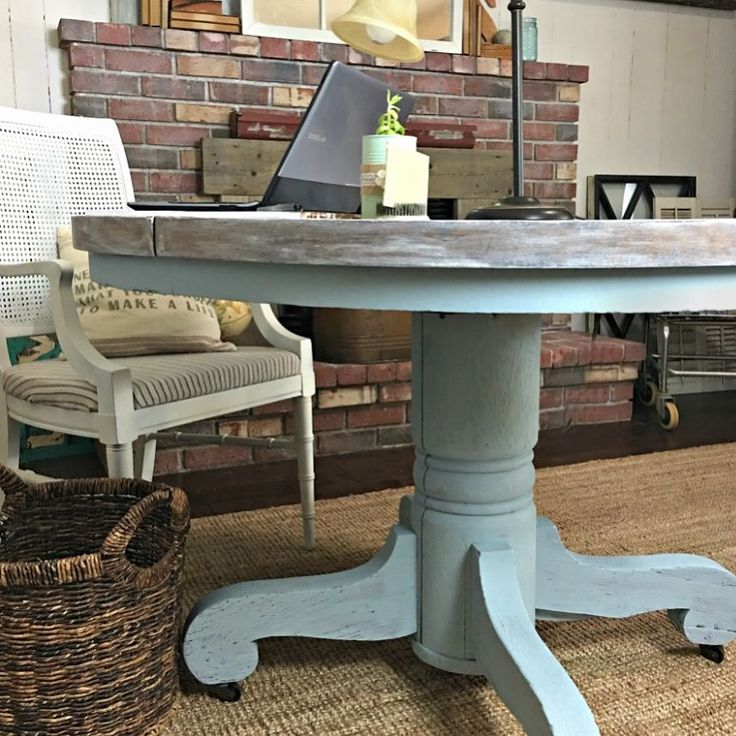Ive got a sneak peek for my Instagram friends on my One Room Challenge post tomorrow. As some of you know I have been trying to decide if I should use a free round table as a desk and the answer is.. YES TO THE DESK. To update this table-desk (it did have a lot of damage) I decided to use the Valspar Chalky Paint in Trousseau for the bottom and the Valspar Limewash Glaze for the top. Both the chalky paint and Limewash were super easy to work with and took very little prep time which is what…