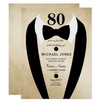 Gold Black Tuxedo Mens 80th Birthday Party Invite