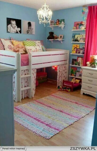Cool bed+clubhouse idea, use blue or camo for boys!