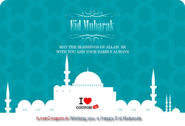 We wish you a very happy & peaceful Eid. May this festival showers you with Love, Peace, Goodness Warmth & Blessing of Allah. Visit www.ilovecoupon.IN for #Eid #Mubarak offers!
