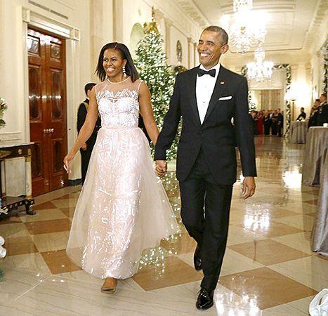 Michelle Obama was the belle of the ball in sparkling Monique Lhuillier blush dress, Dec 2014