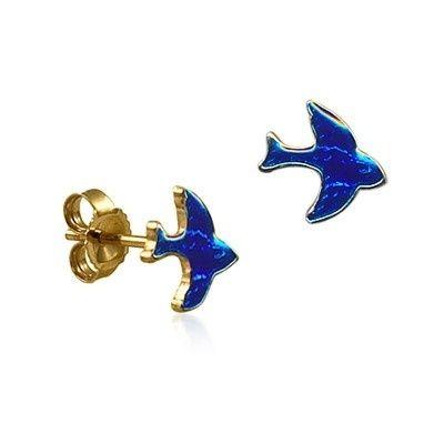 Stud Earrings - BLUE BIRDS - 9ct Gold