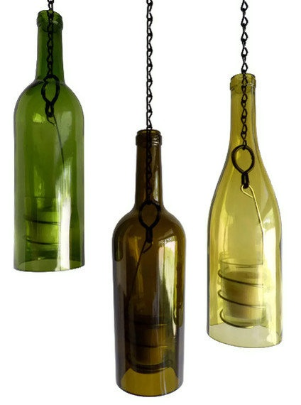 Three Glass Wine Bottle Candle Holder Hanging Hurricane