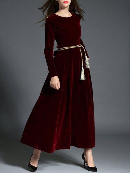 Shop Evening Dresses - Velvet Elegant Long Sleeve Swing Evening Dress online. Discover unique designers fashion at StyleWe.com.