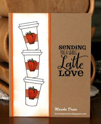 Handmade coffee card by Marsha Drain featuring the Latte Love digital set from Verve. #vervestamps