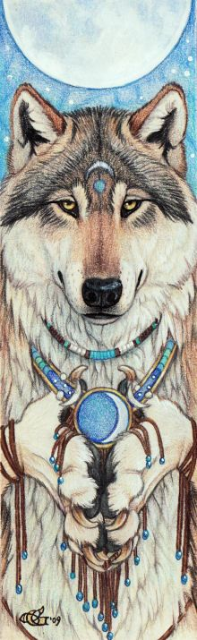 "Spirit Totem Animals:  ""Moon Offering,"" by Goldenwolf, at deviantART."