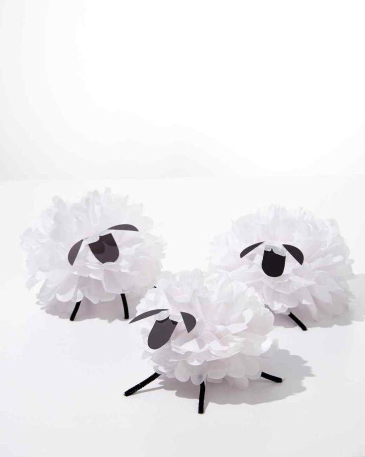 Tissue Paper Pom-Pom Sheep