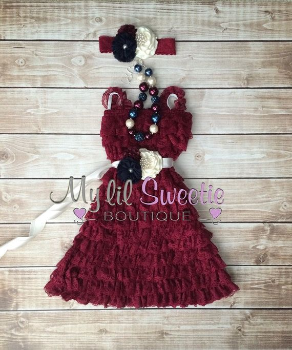 Original burgundy ivory navy 4 pc set by MyLilSweetieBoutique. dress, necklace, sash, headband, birthday outfit, special occasion outfit, holiday outfit via Etsy. $87.95 #mylilsweetieboutique #etsy #burgundydress #maroondress #specialoccasionoutfit #holidayoutfit #christmasoutfit #burgundywedding #maroonwedding #flowergirldress