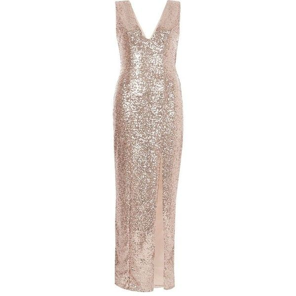 River Island Rose Gold Metallic Plunge Bodycon Maxi Dress 60 Liked On Polyvore Fe Rose Gold Cocktail Dress Going Out Outfits For Women Metallic Gold Dress