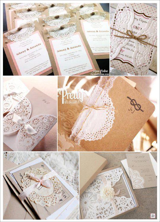 faire part mariage vintage retro napperon dentelle papier