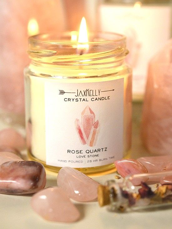 Burn your rose quartz crystal candle to bring positive, loving energies into your space. Place one in your bedroom to ignite passion and fill the space with energy of love.