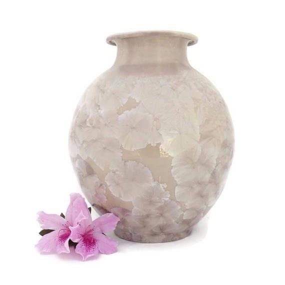 Decorative Ceramic Vase  Crystal Glazed  Beige Background