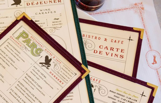 Parc restaurant bristro and cafe menu #design by Mucca