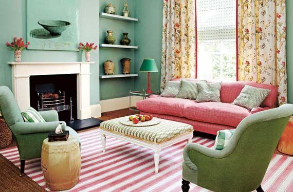 #verde menta Un salón en #color verde menta #decoracion