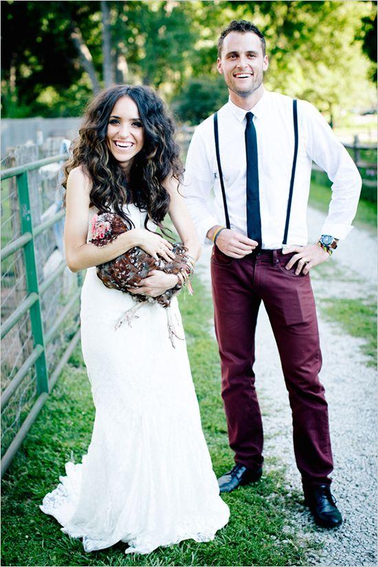 Farm style wedding portrait ideas. Captured By:  Emily Elizabeth Photo ---> http://www.weddingchicks.com/2014/05/30/wild-and-free-bohemian-wedding/