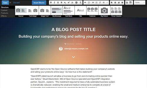 Odoo website builder - perfect for building websites, blogs, online shop and product pages