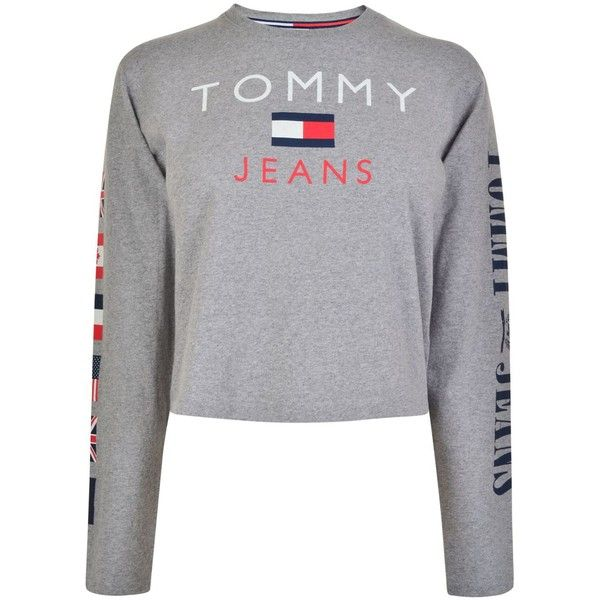 TOMMY JEANS Logo Long Sleeved T Shirt (807.990 IDR) ❤ liked on Polyvore featuring tops, t-shirts, long sleeve cotton t shirts, crew neck t shirt, long sleeve t shirts, cotton tees and logo t shirts