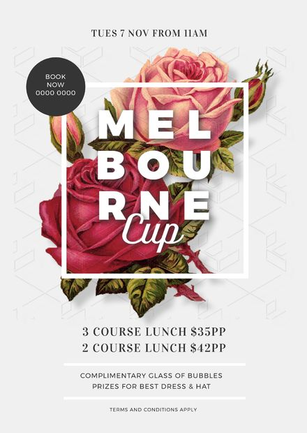 Gorgeous rose background for Melbourne Cup promotion #melbournecup #template