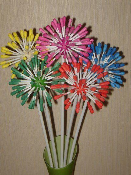 Очаровательные цветы из ватных палочек - Поделки с детьми | Деткиподелки