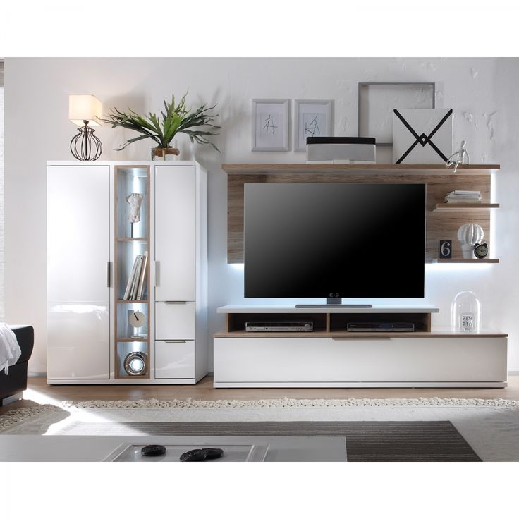 wohnwand salandra ii 3 teilig hochglanz wei eiche. Black Bedroom Furniture Sets. Home Design Ideas
