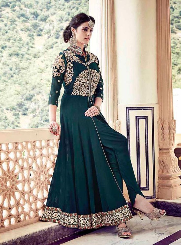 Teal Faux Georgette Designer Anarkali Suit 79925