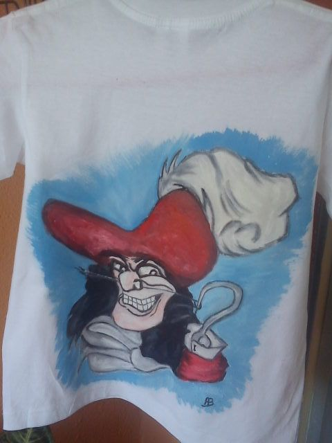 handpainted t shirt captain hook.https://www.facebook.com/pages/Anastasias-art-gallery/334822676627889?fref=ts