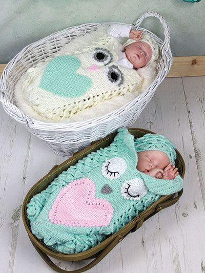 Crochet - Children & Baby Patterns - Cocoon & Layette Patterns - Owl Hugs Cocoon & Hat