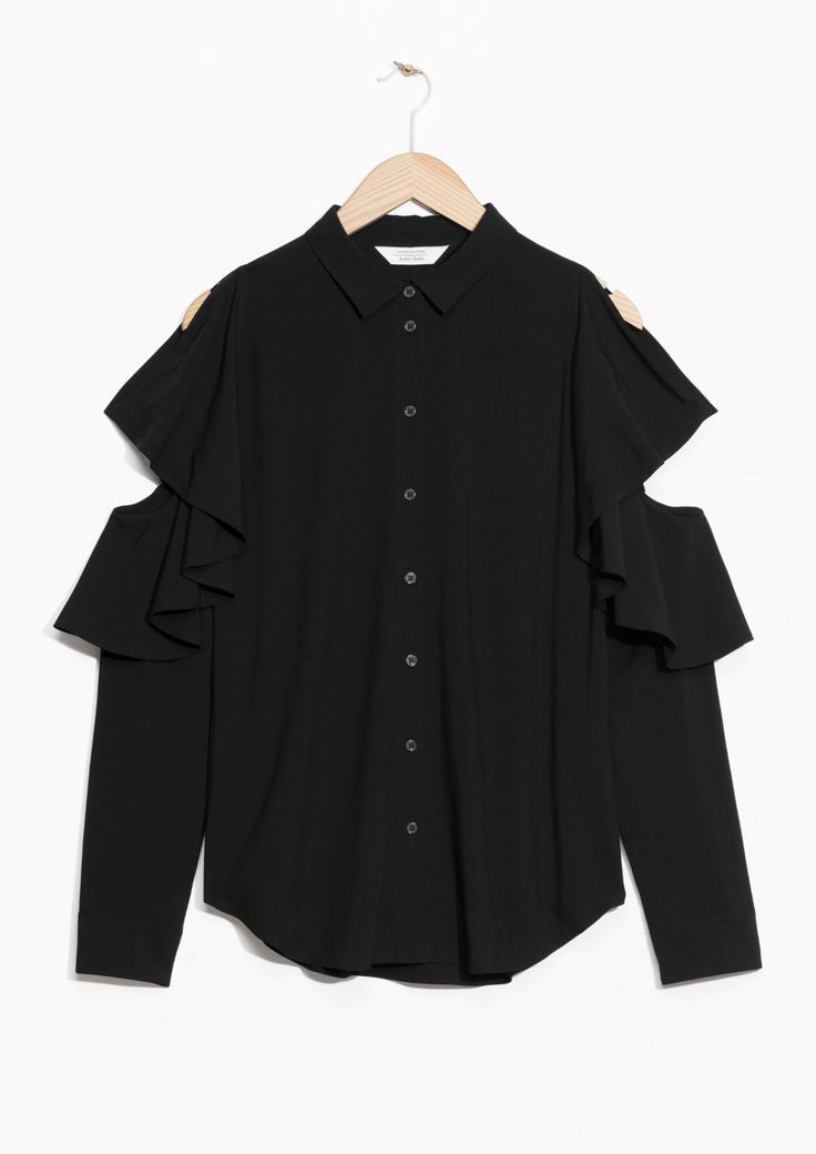 Other Stories image 1 of Frilled Cut Out Blouse  in Black